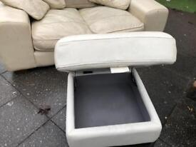 Cream Sofa With Foot Stool