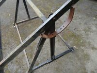 TILT TABLE, FABRICATION BENCH 8'x4'. GOOD WORKING HEIGHT WITH CASTORS