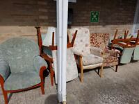 Chairs suitable for re upholstering. FREE to collector