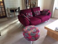 3 seater sofa and footstool, colour burgundy, coordinating cushions, DFS style Amanda
