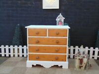 SOLID PINE FARMHOUSE DOVETAIL CHEST OF DRAWERS PAINTED WITH LAURA ASHLEY PALE DOVE AND WAXED