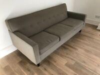 Contemporary Crosshatched Grey Sofa-Seats 3 or 4