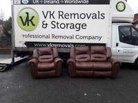 2&1 seater sofa in a thick grade of brown leather Hyde (all reclining) £125
