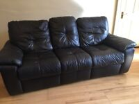 Fully reclining 3 seater and 2 seater leather sofas in dark brown