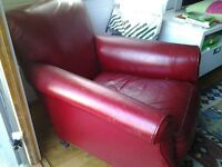 Antique Red Leather Armchairs