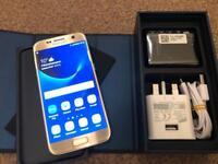 Samsung Galaxy S7 32GB, unlocked, gold platinum, grade A, not a mark. Full working.