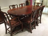 Solid Mahogany extending dining table and 6 chairs