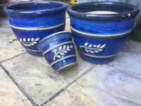 SET OF THREE MATCHING BLUE GLAZE POTS