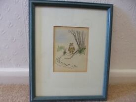 Winnie the Pooh - original early edition water colour in frame