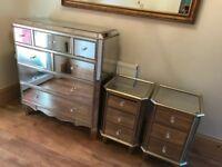 Stunning Antique Effect Mirrored Bedroom Furniture