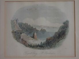 Antique colour print of Fiquet Bay, St. Brelades, Jersey.