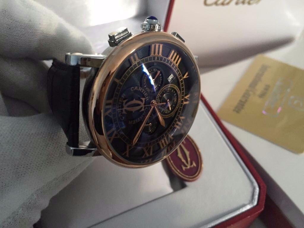 New Swiss Cartier Ballon Bleu Chronograph Watch, LEATHER STRAP