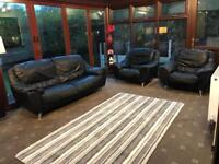 Black Leather 3 Piece Suite 2 Seater Sofa + 2 Armchairs Chrome Feet