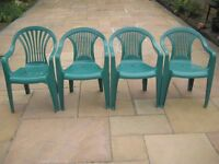 Four Green Plastic Garden Chairs - £5.00 each or 4 for £18.00