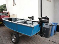 13ft Fishing Boat with 4HP Mercury Outboard and Trailer