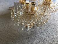 X2 chandelier with glass droplets & X2 wall lights