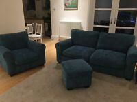 Teal 3 seater fabric sofa, armchair and storage footstool