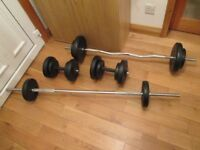 SET OF EXERCISE GYM WEIGHTS AND DUMBELLS - BARGAIN £30 THE LOT!