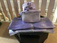Lilac wedding hat with bag and stunning hand made wrap shawl pashmina