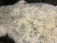 Rare arctic fox tipped 100% pure sheepskin double pelt rug - brand new