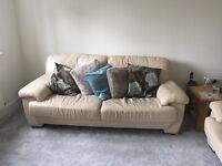 3 & 2 seater sofa - cream leather