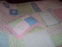 Laura Ashley patchwork quilted bedspread and matching cushion