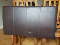Brown leather effect headboard