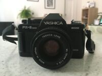 Yashica FX-D 35mm SLR Film Camera w/ 50mm lens Kit & Full Case V. Good Condition