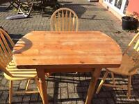 Solid wood table with four chairs shabby project