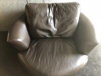 Large dark brown cuddle chair