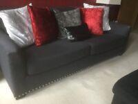 3 seater charcoal grey Ralph Lauren style sofa