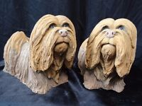 2 Vintage Style Cute Small Matching Dougal Stone Dogs Garden Ornaments