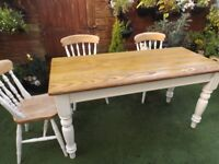 Farmhouse Style Kitchen Dining Table -Oak? 5ft long stripped and varnished top - painted legs / base