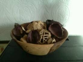 Stunning detailed wooden bowl with contents