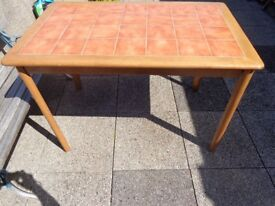 Tile Top Antique Coloured Pine Table & 6 Chairs