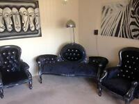 Black velvet 3 piece suite - sofa and 2 armchairs