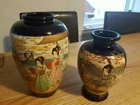 2 japanease satsuma style vases