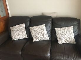 Baker and stone house 3 seater brown leather sofa