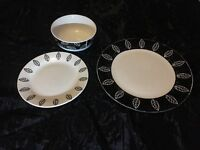 Black-and-white leaf plate set
