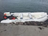 Semi rigid rib, boat with 25hp serviced outboard. Fast safe boat for fishing etc. May px