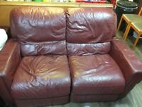Like new red leather sofa for sale in good condition