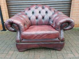 Chesterfield genuine oxblood leather chair EXCELLENT CONDITION! BARGAIN!