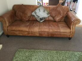 DFS Italian ranch leather large sofa, w armchairs and footstool.