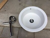 Stone Composite hand basin with chrome effect waste pipe. 14 inches round.