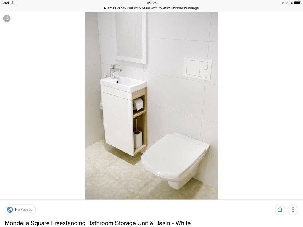 New Without Box Small Vanity Unit With Basin With Toilet Roll Holder In