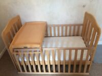 Mamas & Papas Cot Bed, with changing table and mattress