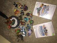 Wii console black. 10 games guitar and drums 2 controllers nunchucks sky landers and leads