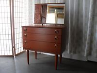 VINTAGE RETRO SCHREIBER TEAK VENEER THREE DRAWER DRESSING TABLE WITH MIRROR CHEST OF DRAWERS