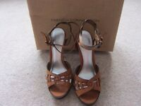 Ladies French Connection Juliana Tan Leather Sandals UK 4 - NEW
