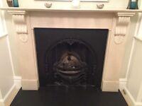 Victorian style limestone fireplace surround